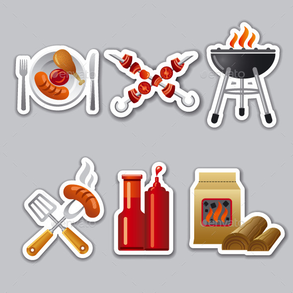 GraphicRiver Barbeque Stickers 9630910