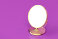 Gold makeup mirror on purple background - PhotoDune Item for Sale