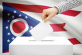 Voting concept - Ballot box with national flag on background - Ohio - PhotoDune Item for Sale