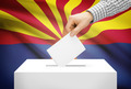 Voting concept - Ballot box with national flag on background - Arizona - PhotoDune Item for Sale