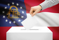 Voting concept - Ballot box with national flag on background - Georgia - PhotoDune Item for Sale