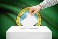 Voting concept - Ballot box with national flag on background - Washington - PhotoDune Item for Sale