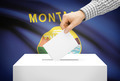 Voting concept - Ballot box with national flag on background - Montana - PhotoDune Item for Sale