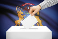 Voting concept - Ballot box with national flag on background - Michigan - PhotoDune Item for Sale