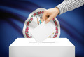 Voting concept - Ballot box with national flag on background - Virginia - PhotoDune Item for Sale