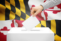 Voting concept - Ballot box with national flag on background - Maryland - PhotoDune Item for Sale