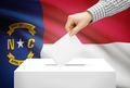Voting concept - Ballot box with national flag on background - North Carolina - PhotoDune Item for Sale