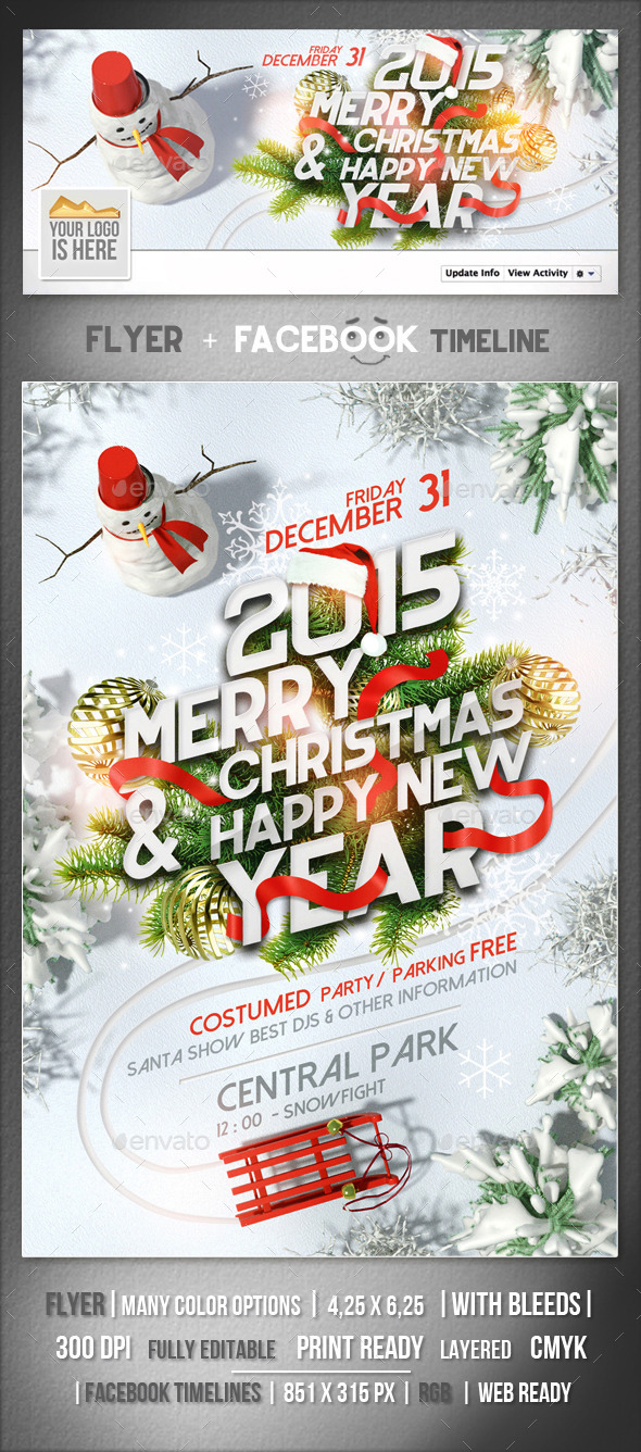 GraphicRiver Christmas NY Flyer & Fb Timeline Template 9593562