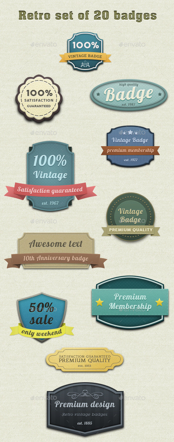 GraphicRiver Retro Set of 20 Badges 9631674