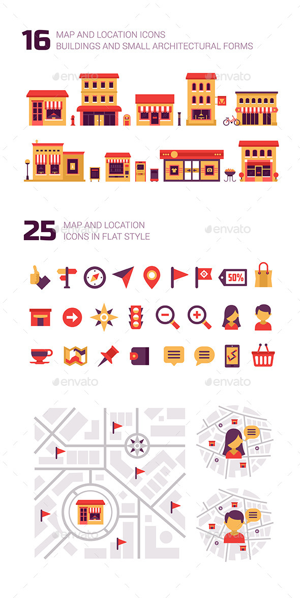 GraphicRiver Map and Location Elements and Icons 9631722