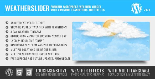 WeatherSlider Premium WordPress Weather Widget - CodeCanyon Item for Sale