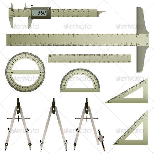 GraphicRiver Mathematic Measurement Instrument Set Vector 122731