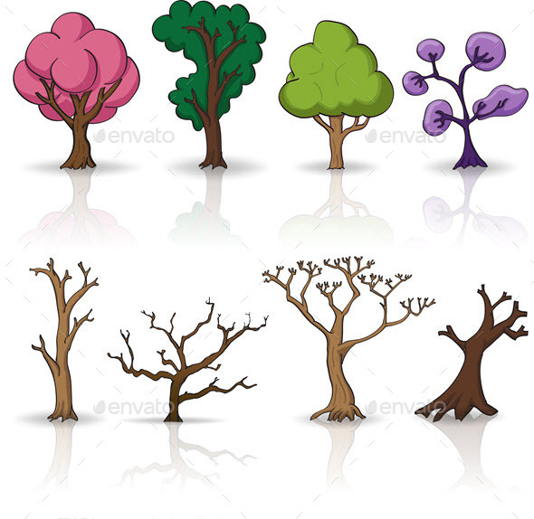 GraphicRiver Cartoon Trees Set 9633246