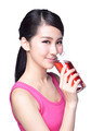 Young happy woman drink juice - PhotoDune Item for Sale