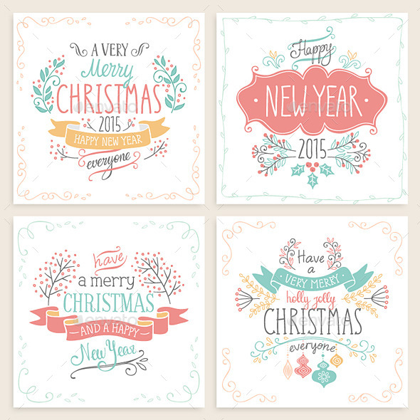 GraphicRiver Christmas Hand Drawn Card Set 9633517