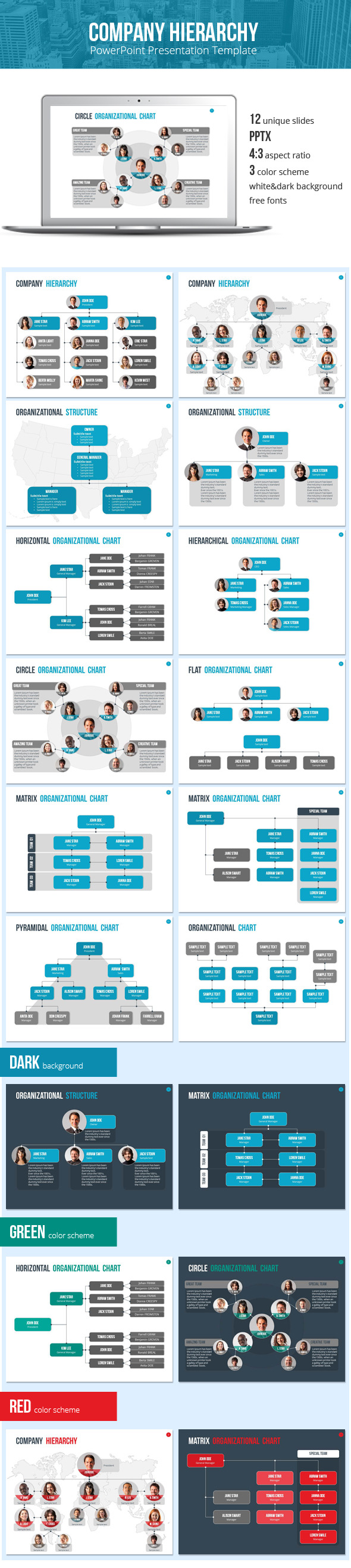 GraphicRiver Organizational Chart and Hierarchy Template 9635233