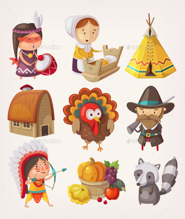 GraphicRiver Set of Thanksgiving Items and Characters 9635327