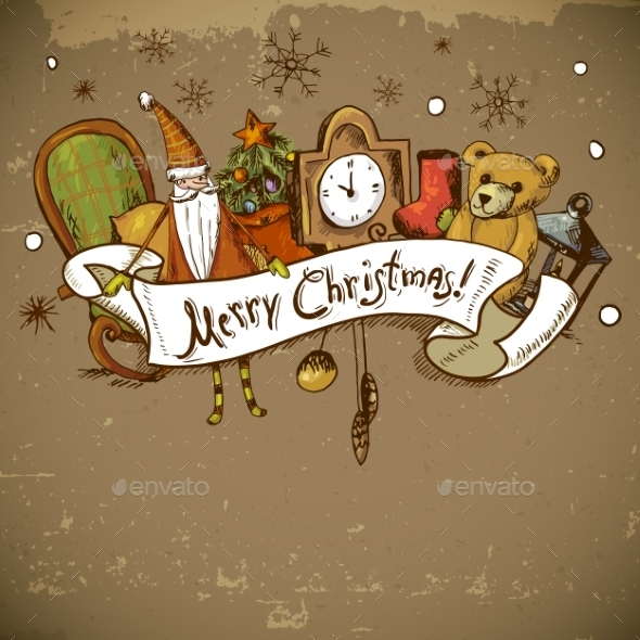 GraphicRiver Hand-Drawn New Year and Christmas Greeting Card 9635341