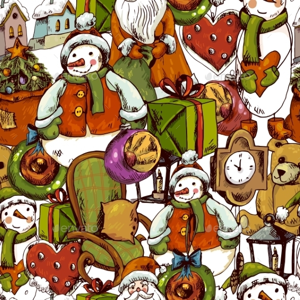 GraphicRiver Hand-Drawn Christmas Seamless Background 9635612