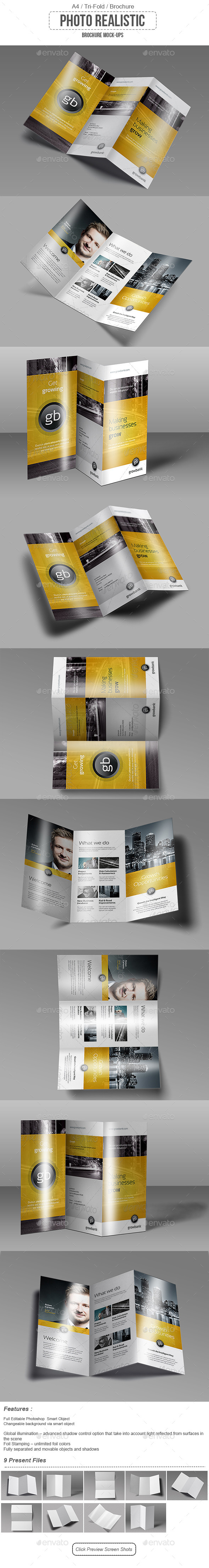 GraphicRiver Tri Fold Brochure Mock-Up 9636928