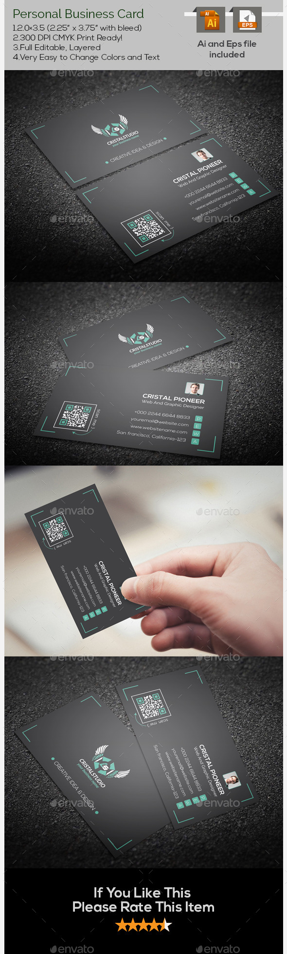 GraphicRiver Personal Corporate Business Card 9637259