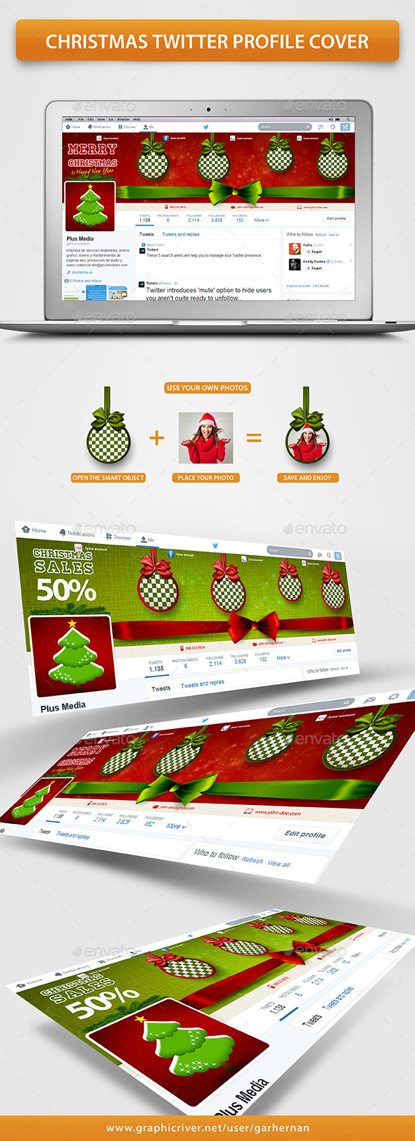 GraphicRiver Christmas Twitter Profile Cover 9637267