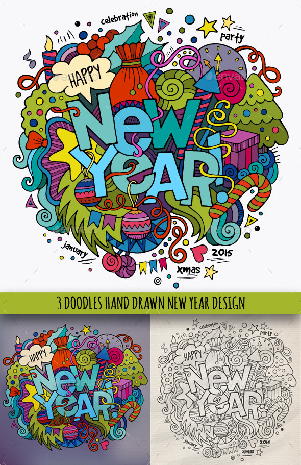 GraphicRiver 3 New Year Doodles Designs 9637465