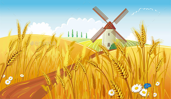GraphicRiver Rural Landscape with Windmill 9637478