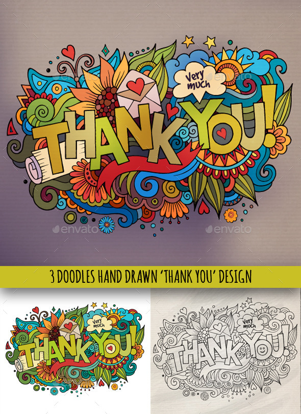GraphicRiver 3 Thank You Doodles Designs 9637486