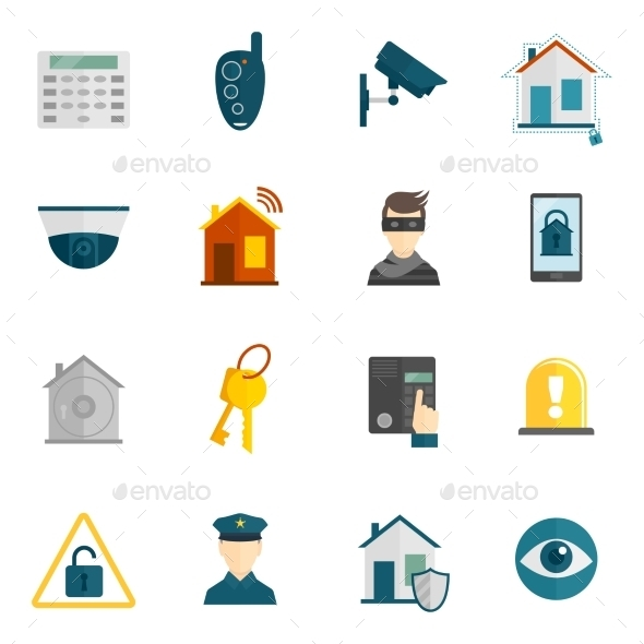 GraphicRiver Home Security Icon Flat 9637934