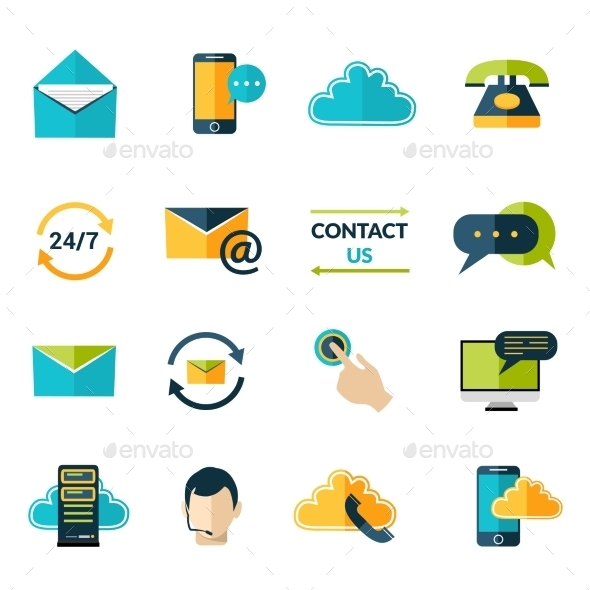 GraphicRiver Contact Us Icons Set 9637943