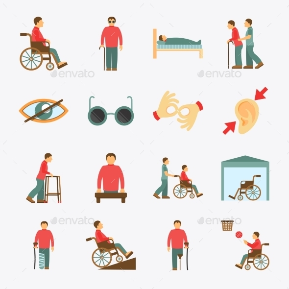 GraphicRiver Disabled Icons Set Flat 9637957