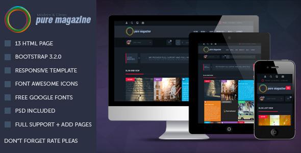 ThemeForest Pure Magazine Responsive HTML Magazine Template 9539101