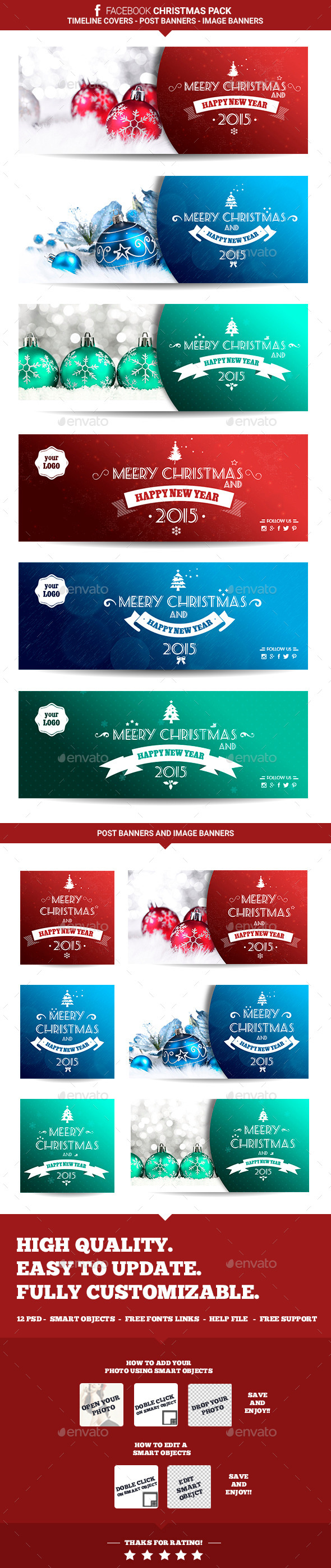 GraphicRiver Facebook Christmas Pack 9638037