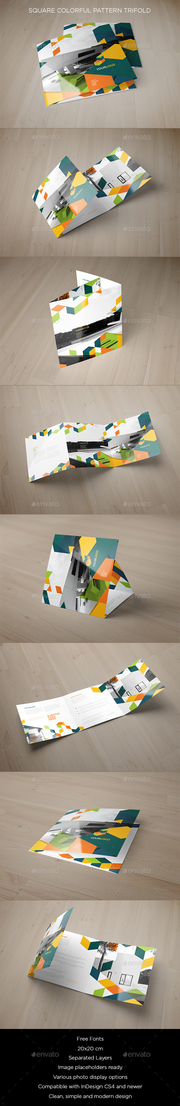 GraphicRiver Square Colorful Pattern Trifold 9638194