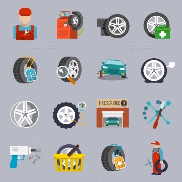 GraphicRiver Tire Service Icon Flat 9638308