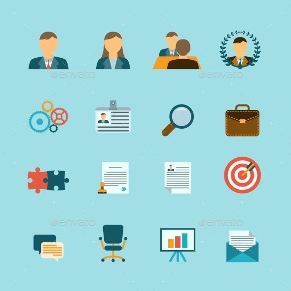 GraphicRiver Human Resources Flat Icons Set 9638316