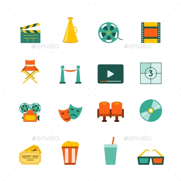GraphicRiver Cinema Flat Icons Set 9638318