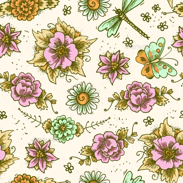 GraphicRiver Vintage Floral Colored Seamless Pattern 9638329