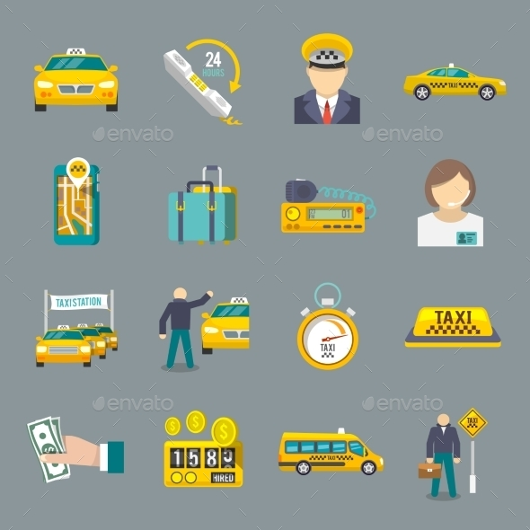 GraphicRiver Taxi icons flat set 9638396