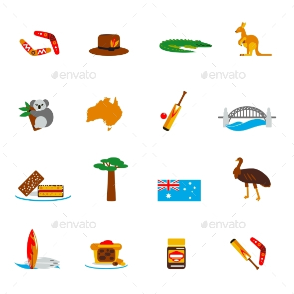 GraphicRiver Australia Icons Set Flat 9638441
