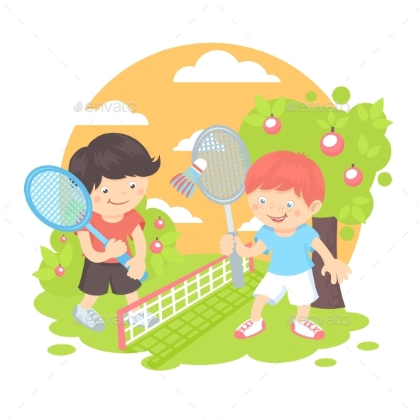 GraphicRiver Boys Playing Badminton 9638462