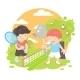 Boys Playing Badminton - GraphicRiver Item for Sale