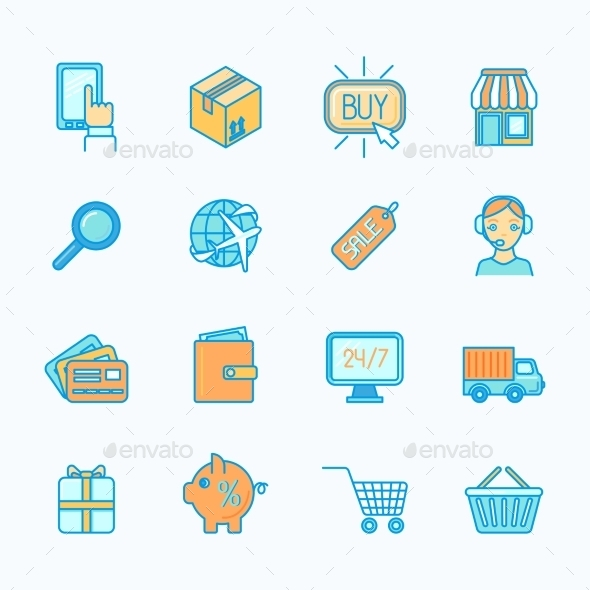GraphicRiver Shopping E-Commerce Icons Set Flat Line 9638530