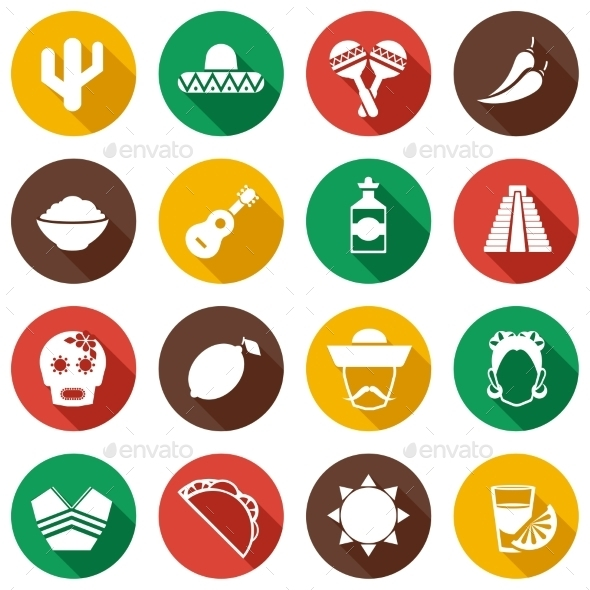 GraphicRiver Mexico Flat Icons 9638533