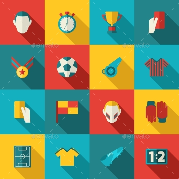 GraphicRiver Soccer Icons Flat 9638557