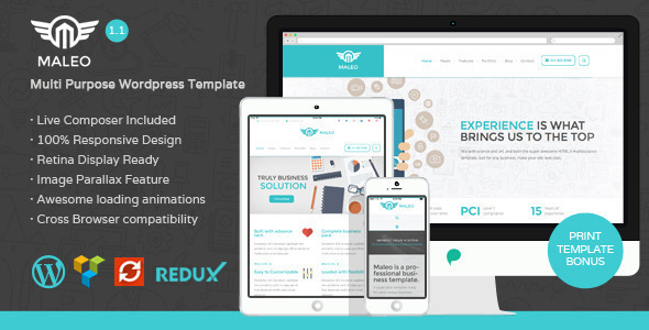 Maleo Clean Corporate Worpress Template - turn your corporate image into high level of desirability. Maleo brings desirability of the site, its appearance and