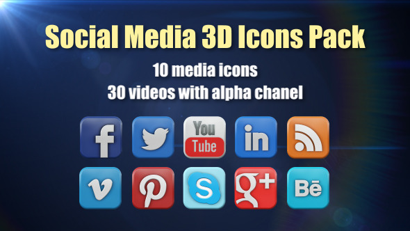 VideoHive Social Media 3D Icons Pack 9638865