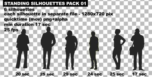 Standing People Silhouettes Pack 02