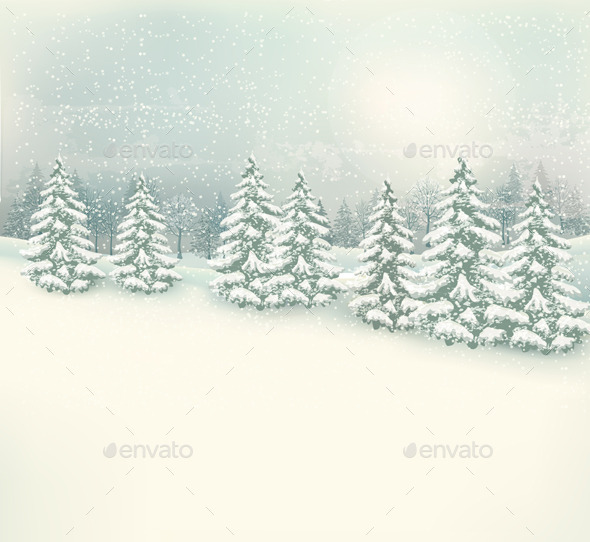 GraphicRiver Christmas Winter Landscape Background 9626597